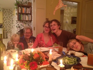 Our first Thanksgiving in our family home (happily, the wallpaper is no more)