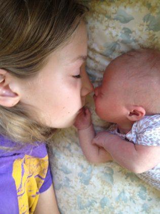 Jules with newborn Lyra