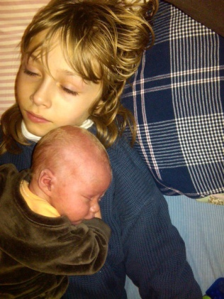 Jules with newborn Leif