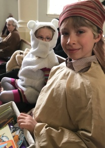 Leif and Lyra wait to perform in the Westminster Christmas Pageant on Dec. 12